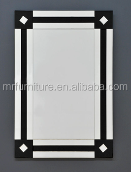 Hitam Dan Silver Miring Cermin Dinding Murah Sederhana