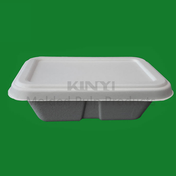 Custom Sugarcane Paper Pulp Microwave Food Storage Tray Containers