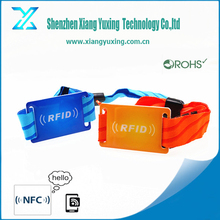 Fast delivery polyester bracelet RFID NFC card woven wristband with Ntag213 / Ultralight chip