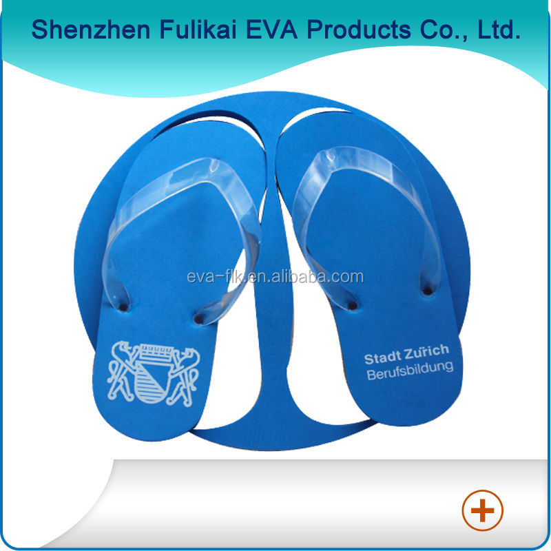 1C Silk Printing Cheap Blue EVA Rubber Flip Flops
