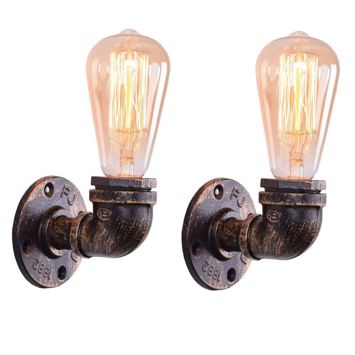 TZZ Industrial Steampunk Metal Vintage Single Head Metal Loft Pipe Wall Light Lamp Cafe Bar Wall Sconce E27 Lamp Base (Bulb not Included) (Size : 2 Sets)