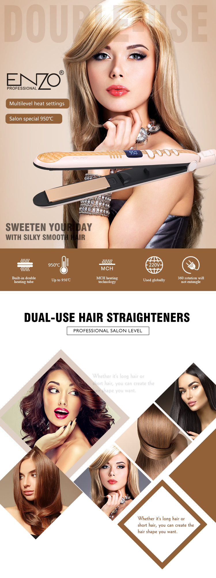 ENZO Professional hot selling private label gift flat iron electric ceramic LCD digital display hair straightener