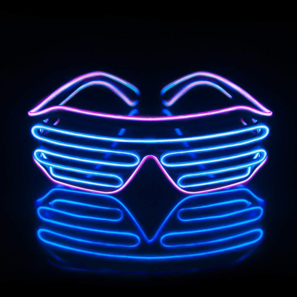 The Cheapest Price Wholesale El Wire Flashing Light Up Shutter Glasses Shades Eyewear Party Concert Favor Jade White Apparel Accessories