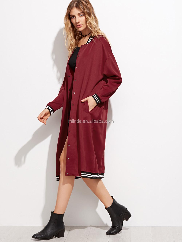 Oem Custom Bulk Buy Casual Clothes Burgundy Varsity Stripe ...