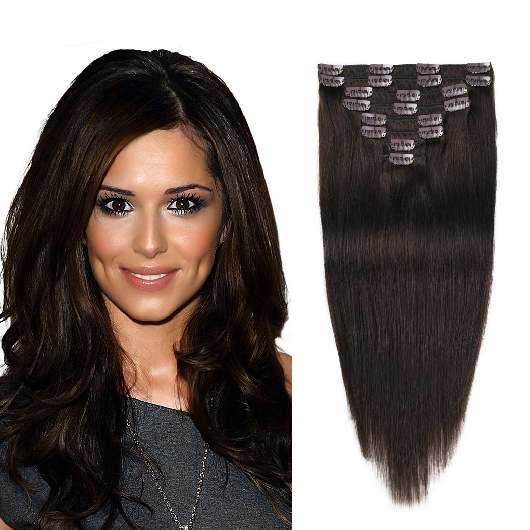 "Remy Human Hair Extensions Clip In Dark Brown 14"" 8pcs 92g Straight Clip Ins Hair Extensions Double Weft Soft Thick Clip In Hair Extensions For Women (12""-82g, 14""-92g, 16""-102g, 18""-112g)"