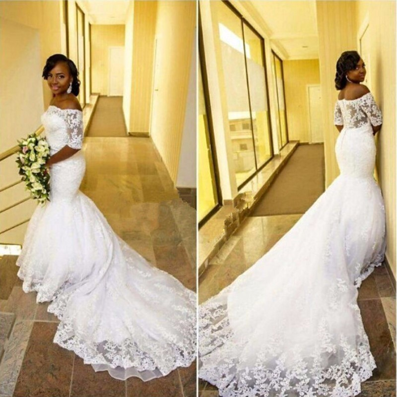 f95d65de4 NE108 larga cola De sirena vestido De boda con media manga cuello Barco De  Apliques De