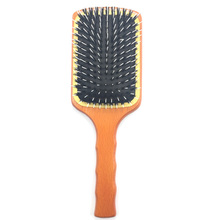 Large paddle natural wooden boar bristle hair brush