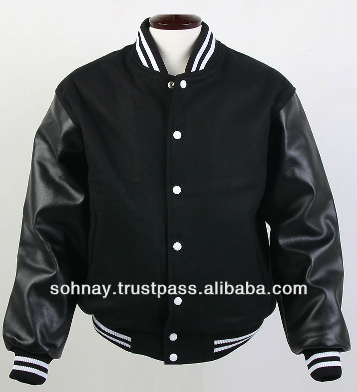 Black Varsity Jackets Made By Wool Body Leather Sleeves Buy