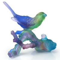 ARTBAY pate de verre crystal glass decorative blue single bird figurine stand on branch