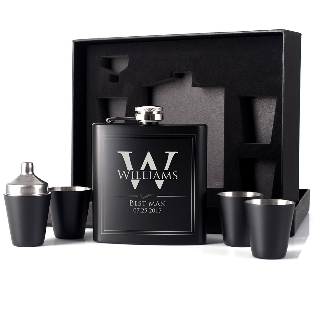 P Lab Groomsmen Gift - Groomsman Gifts For Men, Wedding Favor Customized 6 Piece Flask Set w Gift Box - Engraved 6oz Stainless Steel Hip Flask Custom Personalized Flask Gift Set, Matte Black #7