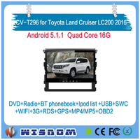 Factory new car video system for Toyota Land Cruiser LC200 2016 2017 car cd mp3 mp4 system android support apps wifi steering ce