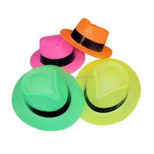Fun Express Neon Color Plastic Gangster Hats