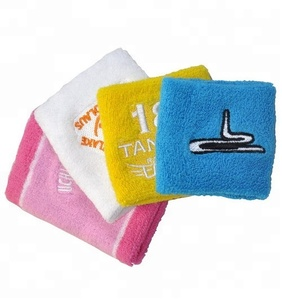 custom solid terry cotton embroidered wrist sweatbands