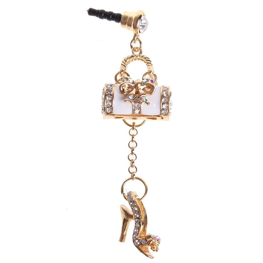 ieasysexy Colorful Bling Crystal 3.5mm Rhinestones Handbag Shoe Pattern Cellphone Charms Anti-Dust Dustproof Earphone Audio Headphone Jack Plug Dust Plug Earphone Cover Stopper for iPhone 4/4s 5/5s Galaxy s3 s4 iPad 4 iPod Touch