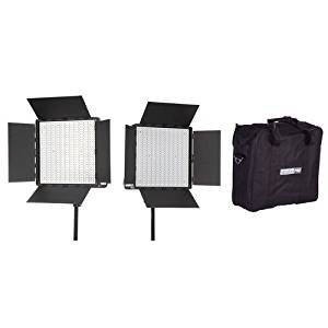 StudioPRO (Set of 2) 600 Full Spectrum & Dimmable Led Light Panel Kit - S-600B for Photography Video & Film Lighting Kit Includes Carrying Case & Barndoor - 3200K-5600K Bi Color Continuous Daylight
