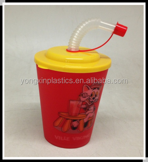 400ML plasttic 3D cup 3d model with straw for children