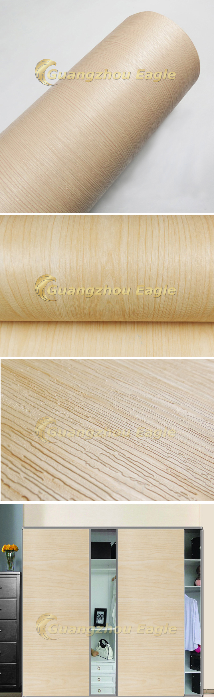 Pvc Wood Grain Self Adhesive Vinyl Film For Furniture Pvc