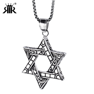 RIR Tantrism Regious Israel Symbol Star of David Jewelry Pendant Necklace,316l Stainless Steel India Religious Jewelry Charm