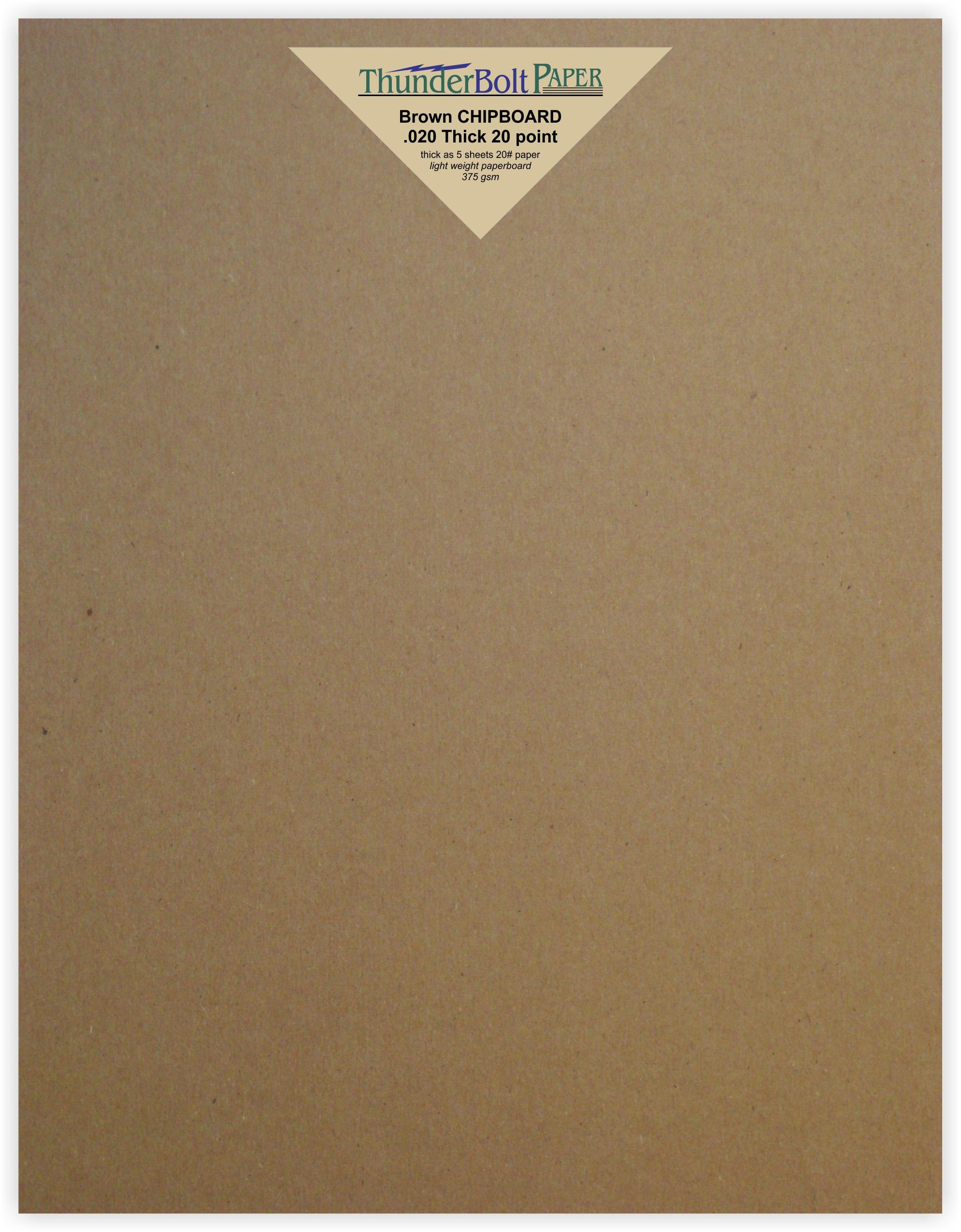 Caliper White Coated on Brown Kraft Cardboard Paper Large|Poster Size Medium Weight Thickness PaperBoard .032 12X18 Inches 12 X 18 10 Sheets Chipboard 32pt White 1 Side Point