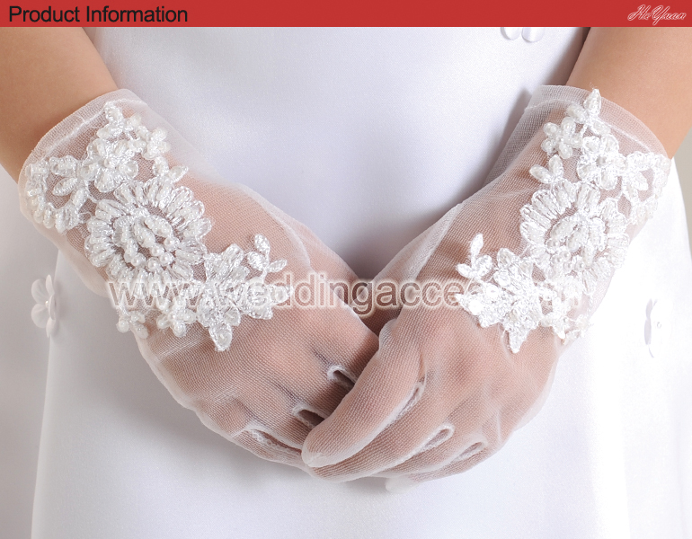 G6001M2-2 Beautiful Wedding flower girl Glove for Flower Girl/Communion Party Glove