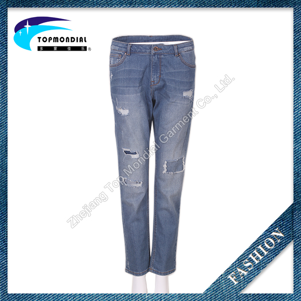Classical denim ripped jeans,slim fit skinny womens jeans