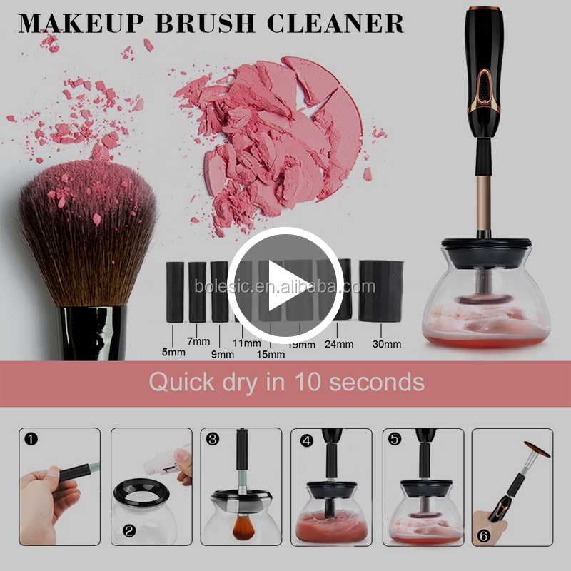 Excellent Quality cleansing brush OEM Makeup Brush Cleaner 2018 New Design 8 Silicone electric makeup brush cleaner and dryer