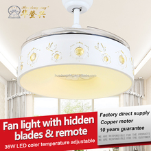 Convenient control time setting 36w copper motor ceiling fan light