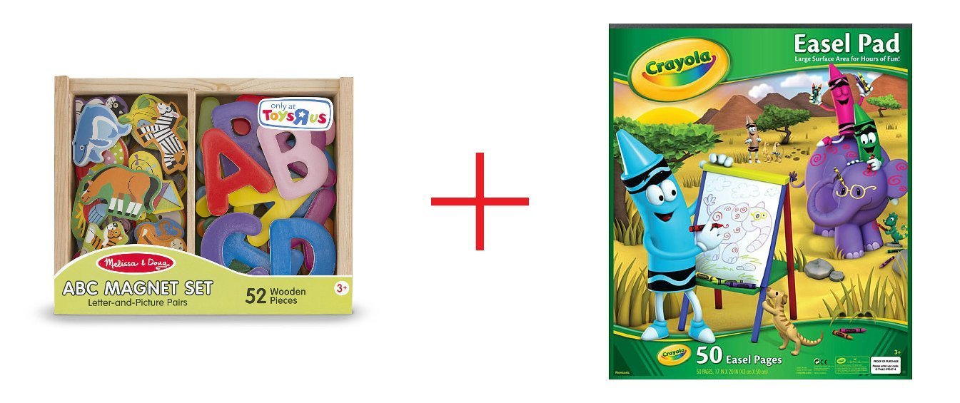 Melissa & Doug ABC and Animal Magnet Set and Crayola Easel Pad - Bundle