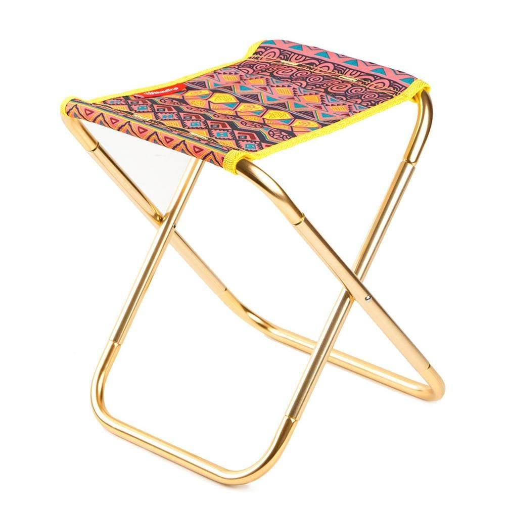 Portable Folding Stool, Outdoor Folding Chair, Lightweight Aluminum Folding Chair with OPP Bag for Hiking,Fishing,Beach and More.