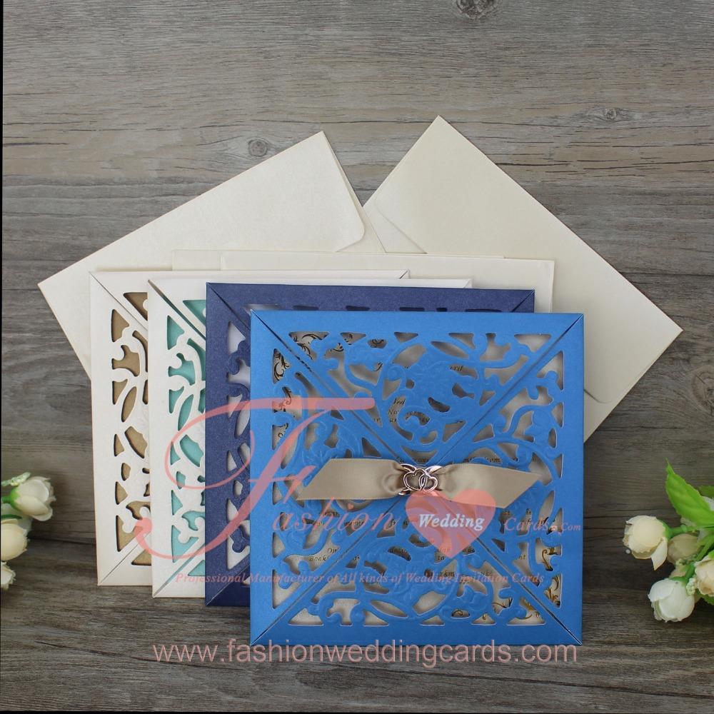 Spanish Style Blue Laser Cutting Gold Wedding Invitations Card
