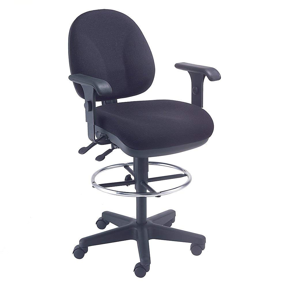"""Paramount Synchro Task Stool With 360 Degree Footrest - 24"""" To 29"""" Seat Height - With T-Arms - Black - Black"""