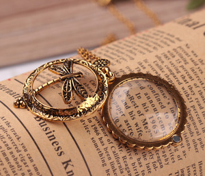 New fashion exaggerated Magnifying Glass Dragonfly Pendant Necklace extended personality mirror sweater chain necklace
