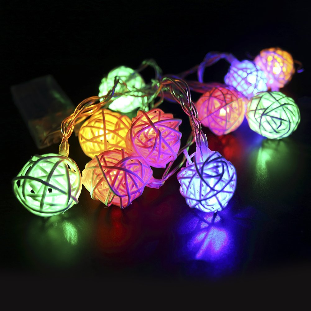 get quotations feeshow rattan ball led decorative string lights warm white light for christmas wedding party