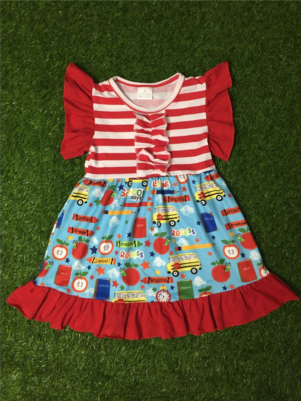 ea710958a Toddler Girls Cute Dress Back to School Fancy Kids Clothes Girls Solid  Cotton Puffy Dresses