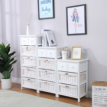 White Wooden Cabinet With Wicker Storage Baskets Livingroom Furniture Cabinet