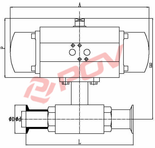 Sanitary Food Grade Valve 2 Way Actuator Ball Valve
