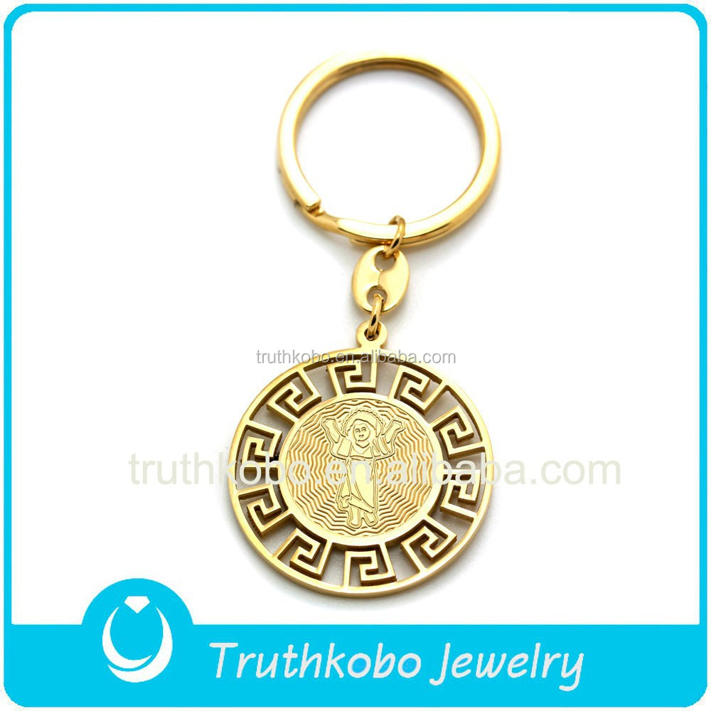 High quality PVD plating gold christian Jesus & patron saint medals keychains with 316L stainless steel material alibaba factory