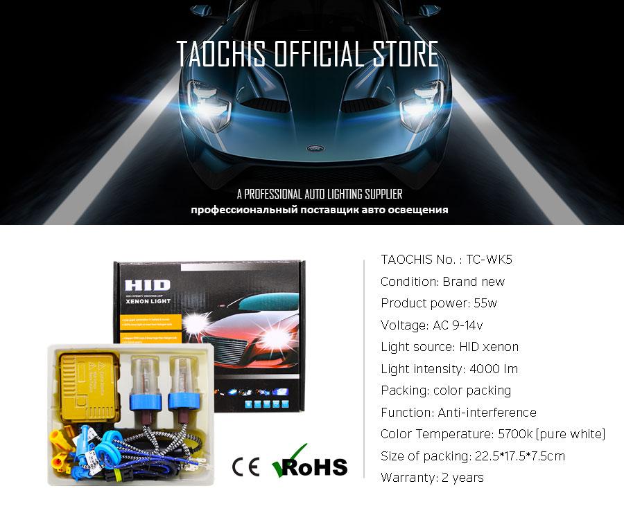 Taochis Ac 12v Hid Headlight Hid Xenon Ballast 55w Sets H1 H3 H7 H11 Bulbs  Car Bulbs Replace Kits Bright Fast Start Retrofit Kit - Buy Hid