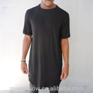 Mens Black Plain Extended Tee Lightweight and Soft Tall Tee Custom Blank Short Sleeve Lonline T-shirt Wholesale