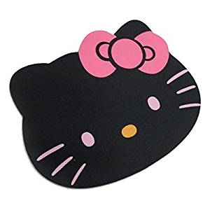 Famixyal KawaiI Cute Anime Cartoon Character Black Pink Cat Hello Kitty Mouse Pad Computer PC Laptop Hello Kitty Head Big face Optical Mouse Pad mat Cloth (Black)