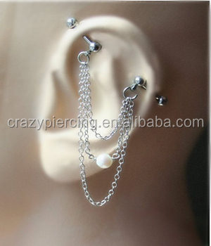 Different Dangle Chain Industrial Barbell Ear Piercing With Freshwater Pearl Body Jewelry