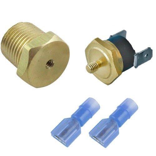 "American Volt Electric Radiator Fan Thermostat Switch 1/8"" 1/4"" 3/8"" 1/2"" Inch NPT Temperature Sensor Thread-in Push Probe (3/8"" NPT, 180'F On - 165'F Off)"
