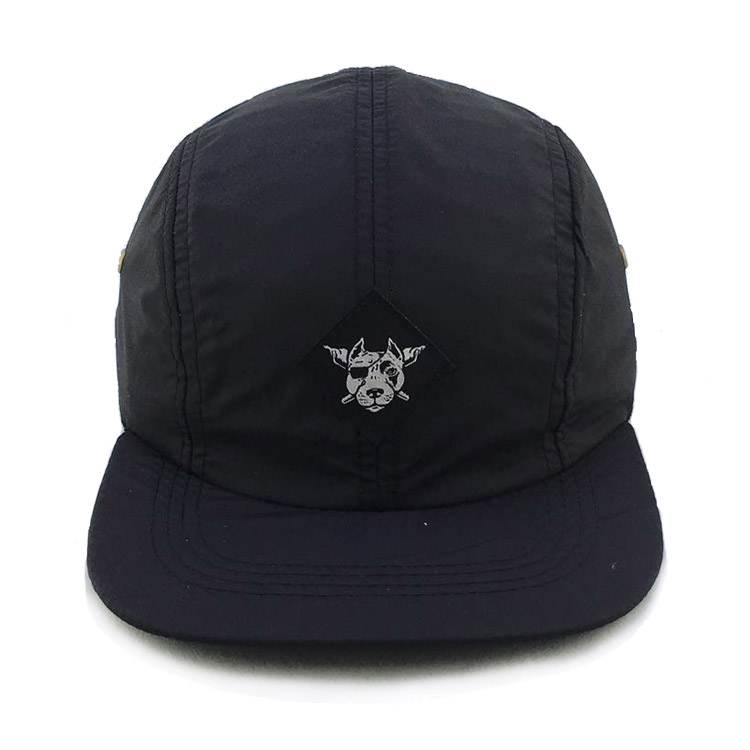 Fashion Custom Nylon Black Short Bill 5 Panel <strong>Cap</strong> with Woven Label