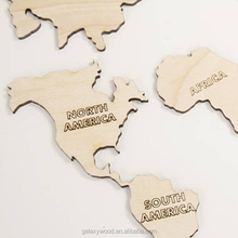 Unfinished Wooden map pieces custom wood  ornaments for wood art and craft