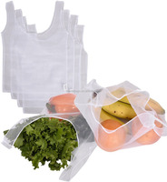Easy to Clean White Recycled Reusable Mesh Grocery Produce Bags