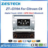 Touch screen car dvd for Citroen C4 auto parts with gps navigation & car central multimedia ZT-CI704