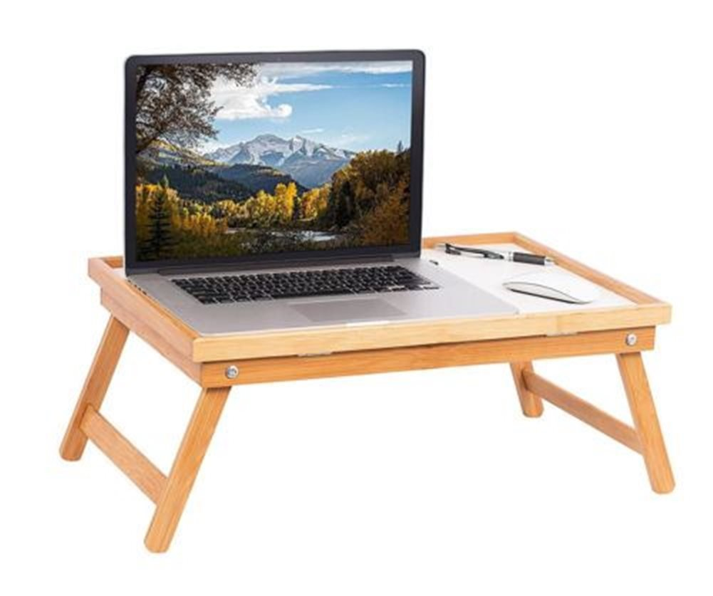 Adjustable Wood Bed Tray Lap Desk Serving Table Folding Legs Bamboo