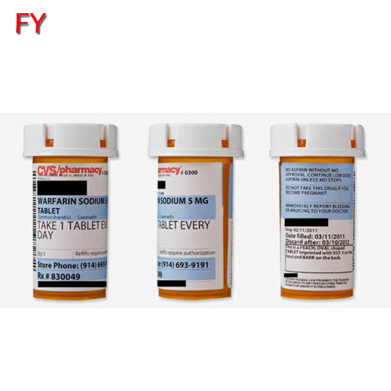 Top sales pill bottle label size high quality pill bottle custom label