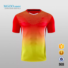 Unisex couple short sleeve leisure v neck sports tracksuit Custom gradient digital print badminton t shirt