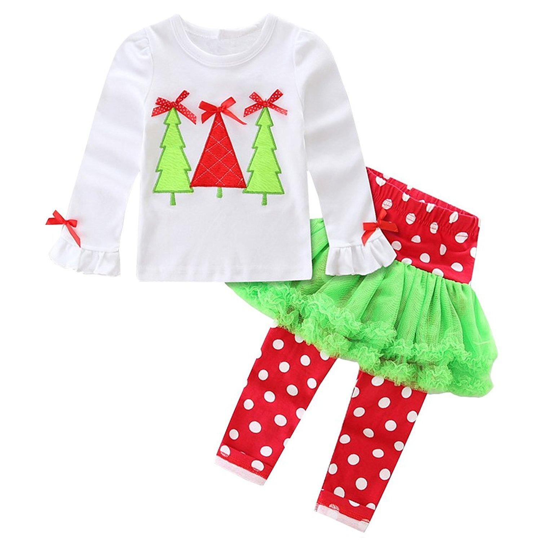 a8fe514f8026 Get Quotations · Scfcloth Kids Girls Christmas Tree Print Tops + Tutu Dress  Leggings Clothing Set Christmas Outfits